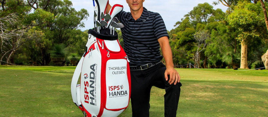 """Thorbjorn Olesen (DEN) is the """"New"""" Ambassador for ISPS Handa, seen here with a new branded bag during Pro-Am for the ISPS Handa World Super 6 Perth on Wednesday 15th February 2017. Picture:  Thos Caffrey / Golffile  All photo usage must carry mandatory copyright credit     (© Golffile   Thos Caffrey)"""
