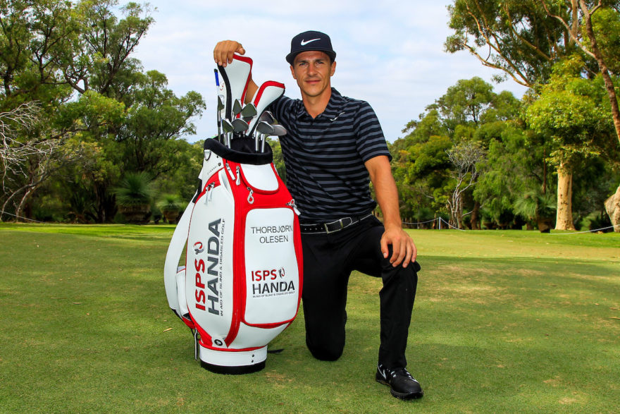 "Thorbjorn Olesen (DEN) is the ""New"" Ambassador for ISPS Handa, seen here with a new branded bag during Pro-Am for the ISPS Handa World Super 6 Perth on Wednesday 15th February 2017. Picture:  Thos Caffrey / Golffile  All photo usage must carry mandatory copyright credit     (© Golffile 